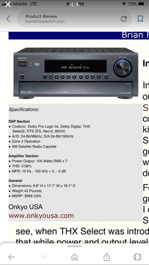 Onkyo TX-SR803 THX Select2 7.1 A/V Receiver for Sale in Lynnwood, WA