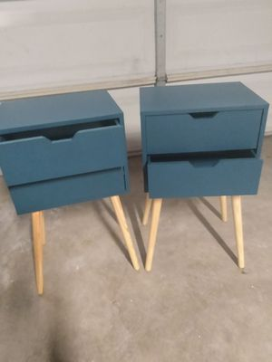 Set of 2 Mid-Century Modern Nightstand Bedside Table Sofa End Table Bedroom Decor 2 Drawers Storage with Solid Wood Legs, for Sale in Fontana, CA