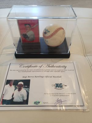 Yogi Berra Autographed Baseball & T.C.G. 1951-55 Card + Diplay Case + COA for Sale in Centerville, UT