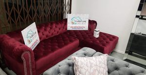 New Burgundy Velvet Luxury Sofa Sectional Couch - Financing Available for Sale in Moreno Valley, CA