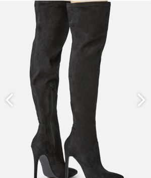 JustFab Frey's Black Faux Suede Thigh High Heeled Boots for Sale in Dallas, TX