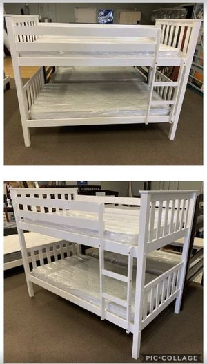 White Twin Bunk Bed Frame with Mattresses for Sale in Glendale, AZ