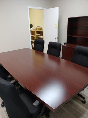 Office conference table and chairs and file cabinet for sale in new like condition $750.00 for all for Sale in JUPITER INLET, FL