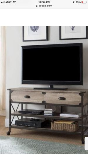 TV Stand 2 drawers Rustic w bronze metal trim 47' long for Sale in Downey, CA