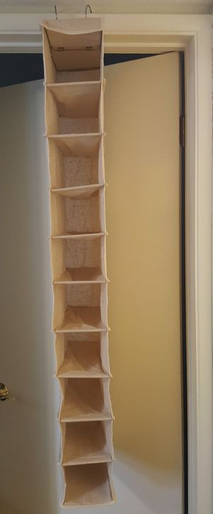 10 pocket narrow hanging closet shoe organizer for Sale in Fort Worth, TX