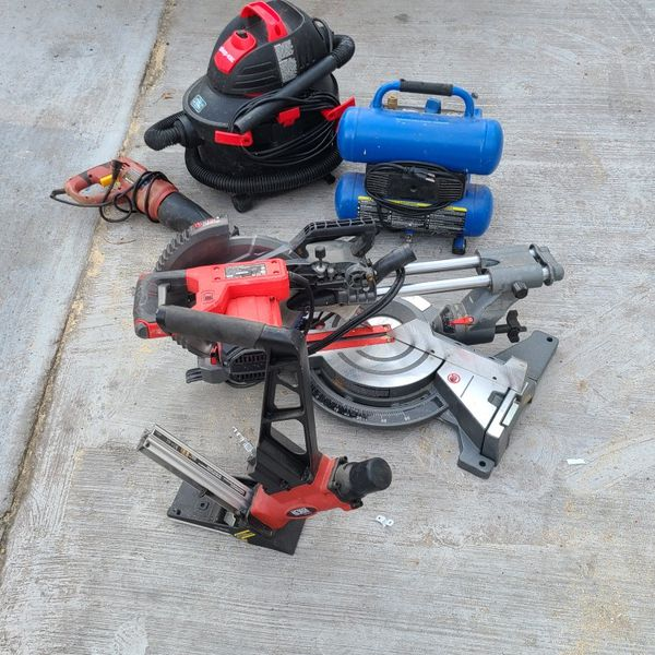 Shop .vac And Mitet Saw And Compressor Brent New Nail Gun