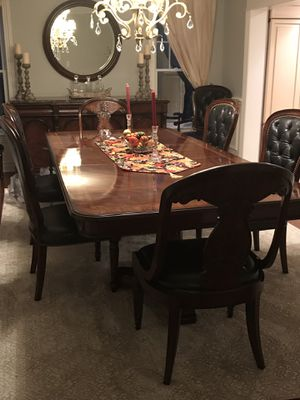 Henredon dining set with marble buffet. Just like new. 8 chairs, 2 with ornate wooden backs. for Sale in Sea Girt, NJ
