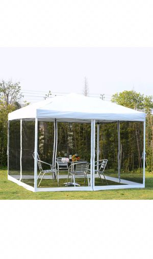 10x10 White Outdoor Patio Easy Pop Up Party Gazebo Canopy Tent Mesh Walls for Sale in Blue Island, IL