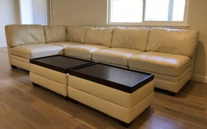 Modern white leather sectional/couch with coffee table for Sale in Belmont, CA