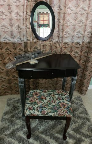 New!! Cherry Oak Vanity set or compact DESK/table w/Barstool ***small defect for Sale in Humble, TX