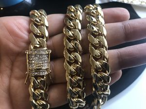 12mm 24 inches Cuban link gold plated chain clasp diamond for Sale in Houston, TX