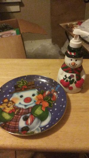 Christmas plate & snowman soap dispenser for Sale in Wichita, KS