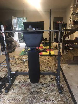 Heavy duty Olympic weight bench with Rack for Sale in Centreville, VA