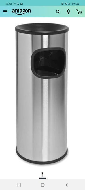 Genuine Joe 58883 Fire Safe Ashtray Receptacle - 3 gal Capacity - Aluminum, Stainless Steel - Stainless Steel for Sale in City of Industry, CA