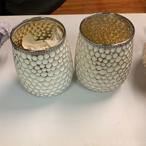 Pair of Silver & White Candle Holders for Sale in New York, NY