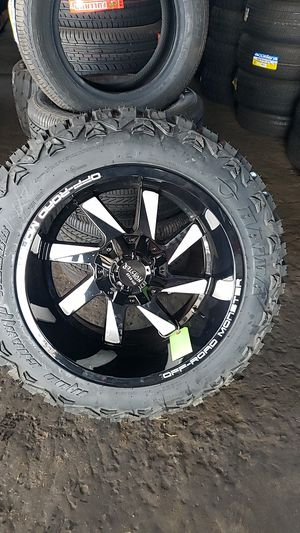20x12 black monster rims 6 lug 6x139 6x135 whit New MUD tires 33 1250 20 lt for Sale in Phoenix, AZ