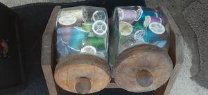 Sewing machine=wood box-jars of thread for Sale in San Bernardino, CA