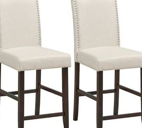 2 Pcs Fabric Nail Head Counter Height Dining Side Chairs Set-Beige Retail 159.95 My price 120.00 for Sale in Fontana,  CA