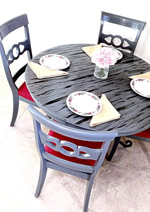 Custom dining table and 4 soft cushion chairs chairs for Sale in Delray Beach, FL