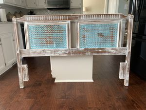 Hand painted full size solid wood headboard for Sale in Evans, GA