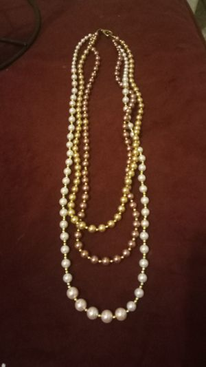 Home made cologe in 3 necklace glass pearl beads for Sale in Colton, CA