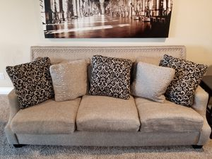 Ashley Livingroom Set - Sofa Loveseat Oversized Chair Tables Rug Grey Black for Sale in Vista, CA