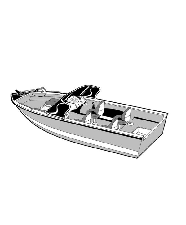 """Carver 72316P-10 Styled-to-Fit Cover for Outboard Aluminum V-Hull Boat with Walk-Thru Windshield - 16'6"""" Length x 100"""" Width"""