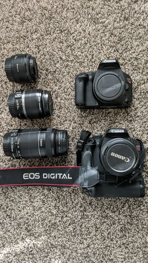 Canon EOS Rebel T2i/T3i body with standard lenses and 2 extra lenses for Sale in Austin, TX
