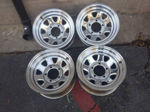 15 inch chrome Jeep CJ wheels 5 on 5.5 lugs Dodge Ford international for Sale in Commerce, CA