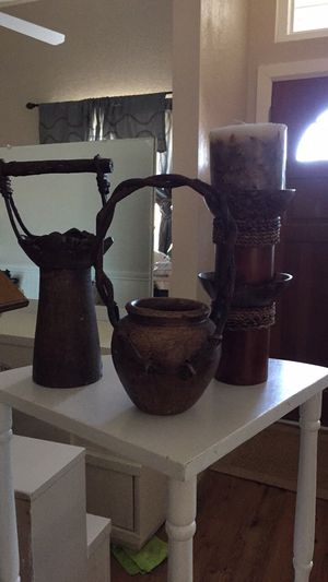 Bamboo candle holder and clay pots for Sale in Oklahoma City, OK
