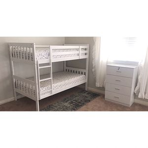 New!! Twin bunk bed, tall chest, set of 2, bedroom furniture for Sale in Phoenix, AZ