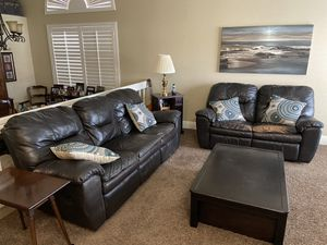 Leather Reclining Couch Loveseat and Coffee Table for Sale in Corona, CA