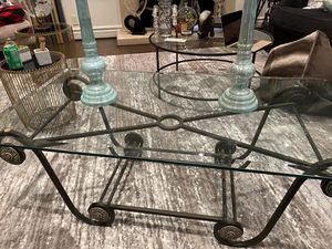 Elegant modern glass coffee table with steel frame for Sale in Beverly Hills, CA