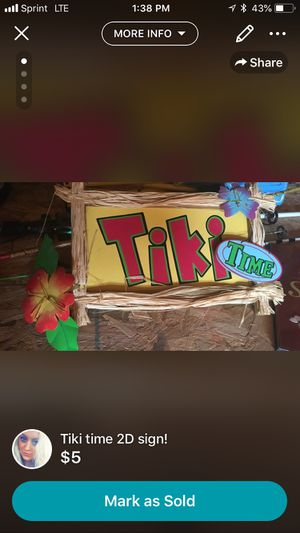 Tiki time sign!!! Hawaii anyone? for Sale in Kingsport, TN