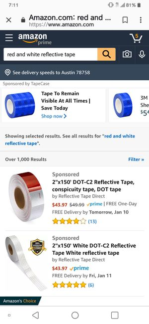 Red and white reflective tape for trailer or marker for Sale in Austin, TX