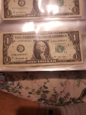 Dollar bill 2013 serie G 88188888 f for Sale in Los Angeles, CA