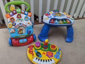 Walker, music board along with a instrument table that counts and sings. The legs are removable/floor play. All work and have language options. for Sale in Escondido, CA