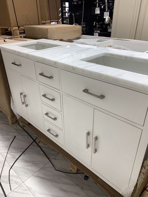 """60"""" Contemporary Double Sink Bathroom Vanity Cabinet in White With 3CM Countertop Fabricated for Sale in Fairfax, VA"""