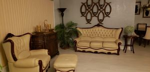 Leather Italian couch with winged chair and ottoman for Sale in West Park, FL
