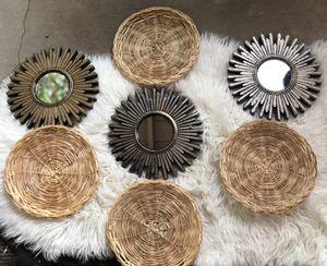 Sun mirrors and Wicker basket wall decor for Sale in Corona, CA