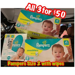 Pampers Size 2 diapers with wipes bundle for Sale in Oakland, CA