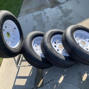 """Brand New Trailer Wheels and Tires 15"""" $100 EACH or $400 for the set for Sale in Fresno, CA"""