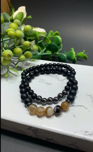 2pcs Adjustable Frosted Natural Stone Beads Bracelet Energy Stone Agate Beads Bracelet for Sale in Los Angeles, CA
