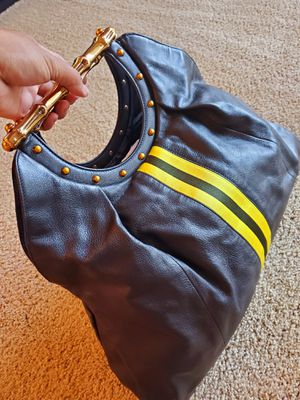 Tom Ford Gucci Bamboo Yellow Stripe Black Leather. Vintage Authentic Handbag for Sale in Montpelier, MD