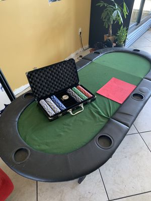 poker Table Top . And poker chip set with dealer button and key. 65 for everything for Sale in Los Angeles, CA