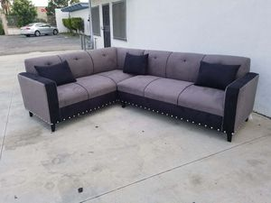 NEW 7X9FT CHARCOAL MICROFIBER SECTIONAL COUCHES for Sale in Barstow, CA