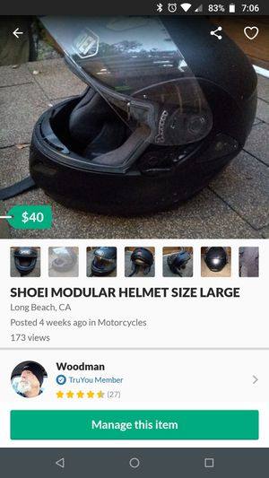 Shoei modular motorcycle helmet-- Size Large for Sale in Long Beach, CA