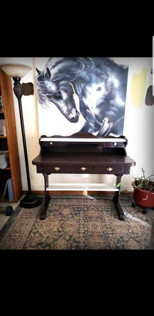 Large Vintage Desk with Built in Bookshelf for Sale in Rancho Cucamonga, CA