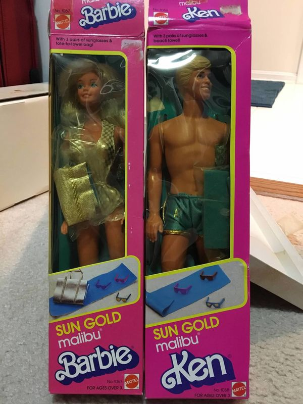 Vintage 1983 Sun Gold Malibu Ken and Barbie