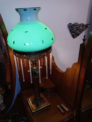 Antique lamp green glass white milk brass for Sale in Clarksville, TN